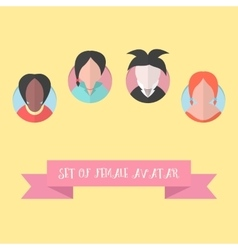 Women avatar set with pink ribbon vector