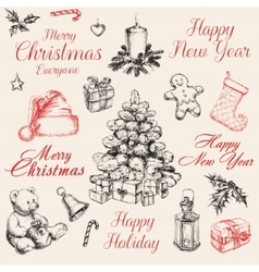 Christmas decorations set vector