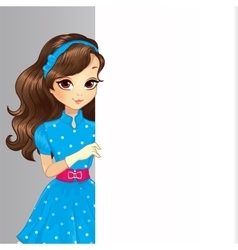 Cute brunette girl hold banner vector