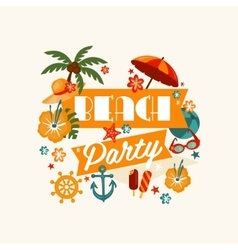 Brach party banner with lettering vector