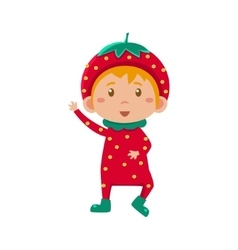 Kid in strawberry costume vector