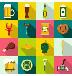 Beer icons set flat style vector