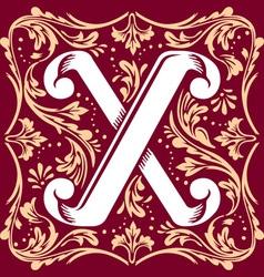 vintage letter X vector image