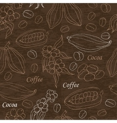 Seamless pattern with coffee and cocoa elements on vector