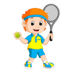 a boy playing lawn tennis vector image