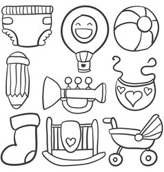 baby object set of doodles vector image vector image