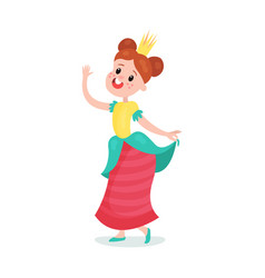 beautiful happy cartoon princess girl character in vector image vector image