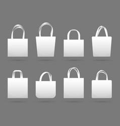 Blank white canvas fabric shopping bag vector