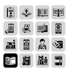 Books Icons Black Set vector image