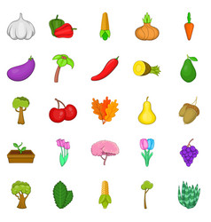 botany icons set cartoon style vector image vector image