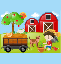 boy planting tree in the farm vector image