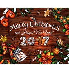 Christmas and new year sketched poster design vector