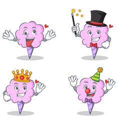 Cotton candy character set with crazy magician vector