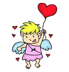 Cupid flying with love balloon cartoon vector