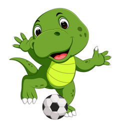 cute crocodile playing football vector image vector image