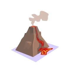 Erupting volcano jungle village landscape element vector
