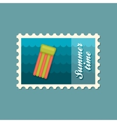 Floating mattress on beach flat stamp vector image