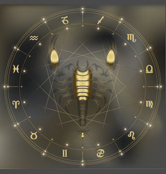 Golden scorpion zodiac scorpio sign vector