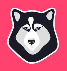 Husky dog sticker black and white dog fase logo vector