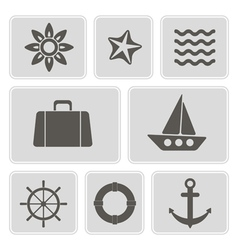 icons with marine recreation symbols vector image
