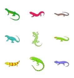 Lizard icons set cartoon style vector