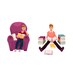Man reading a book in armchair and on the floor vector