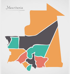 Mauritania map with states and modern round shapes vector