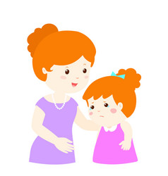 Mother soothes crying daughter vector