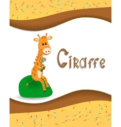 Pictures from the giraffe for bride-kid vector image