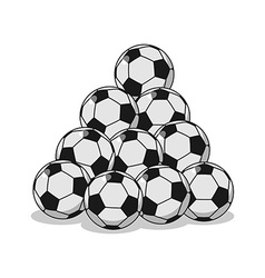 Pile of football Many soccer balls Sports vector image vector image