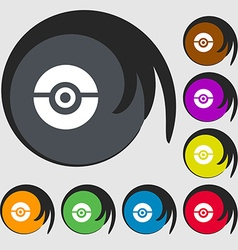 Pokeball icon sign symbols on eight colored vector