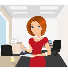 Pretty woman in the office holds a tablet pc in vector image vector image
