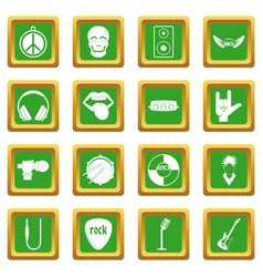 Rock music icons set green vector