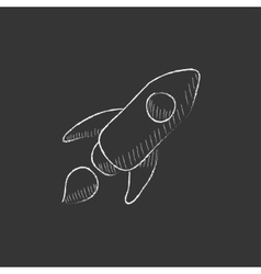 Rocket drawn in chalk icon vector