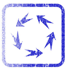 Rotation framed textured icon vector