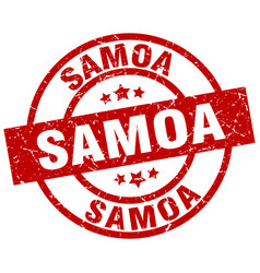 Samoa red round grunge stamp vector