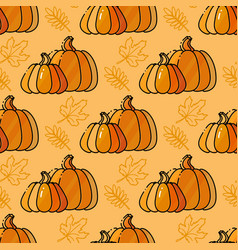 seamless pattern with pumkin and leaves vector image vector image