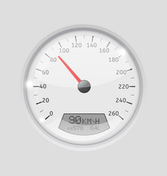 speedometer 90 kmh white round gauge on gray vector image vector image