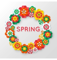 Spring cutout paper flowers spring banner vector