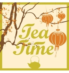 Tea time from the tree branches vector