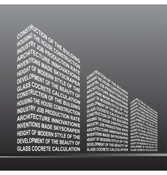 The stylised building built out of words vector