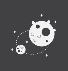 white icon on black background satellite and orbit vector image vector image