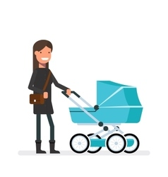 Woman standing next to the pram girl on a walk vector