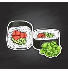 Sushi color sticker unakuimaki roll vector