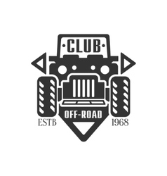 Offroader Extreme Club And Rental Black And White vector image