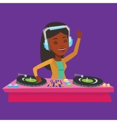 Dj mixing music on turntables vector