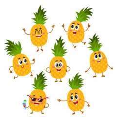 Set of cute and funny pineapple characters with vector