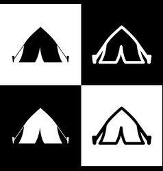 Tourist tent sign  black and white icons vector