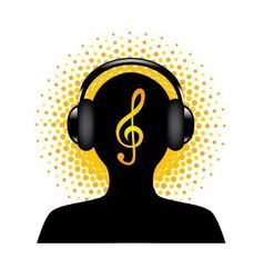 Human silhouette with headphones vector