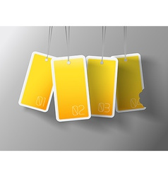 Four hanging yellow cards You can place your own vector image